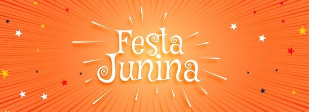 Festa junina banner naranja