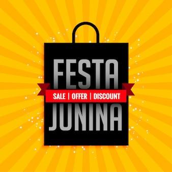 Festa junina banner de venta con bolsa de compras.