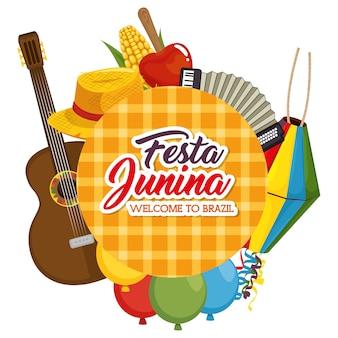 Festa junina bienvenido al signo de brasil rodeado de objetos relacionados con la ilustración vectorial