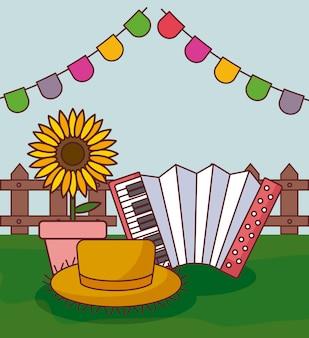 Festa junina card con acordeón y girasol