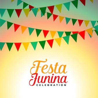 Festa junina celebración banderas decoración diseño de fondo