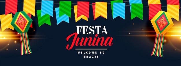 Festa junina celebración banner diseño