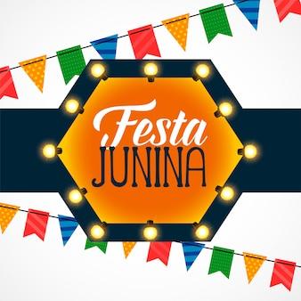 Festa junina celebración bombillas decoración.