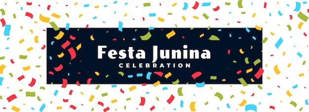 Festa junina celebración confeti banner