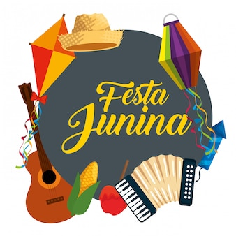 Festa junina celebración con decoración tradicional.