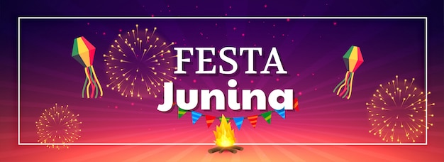 Festa junina celebración fuegos artificiales banner