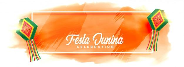 Festa junina celebración lámparas acuarela banner