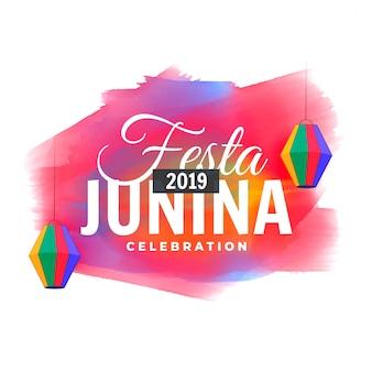 Festa junina colorida acuarela celebración.