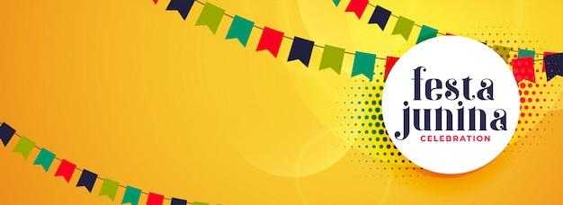 Festa junina decorativa banner de celebración.