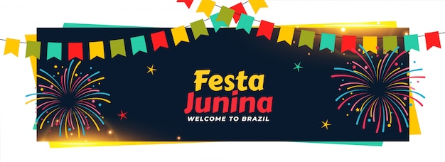 Festa junina decorativa evento banner diseño