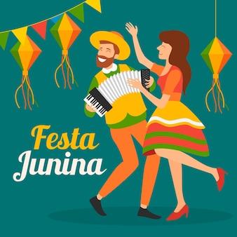 Festa junina en diseño plano