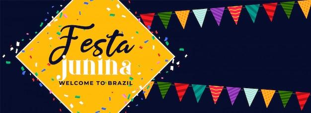 Festa junina divertido carnaval banner diseño