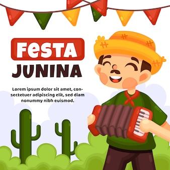 Festa junina evento diseño plano