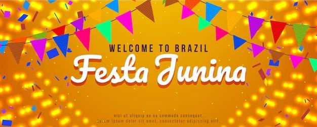 Festa junina festival celebración brillante banner
