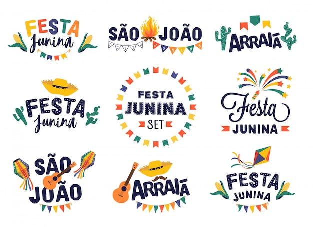 Festa junina fiesta diseño conjunto