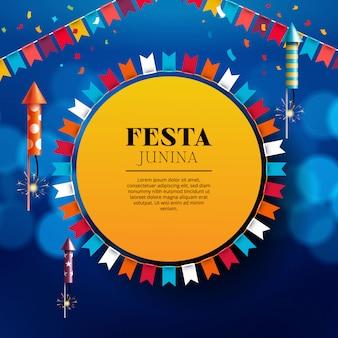 Festa junina con fuegos artificiales, linterna y banderines
