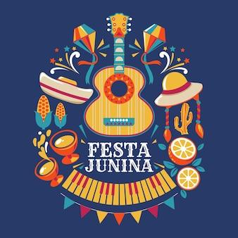 Festa junina guitarra y objetos festivos