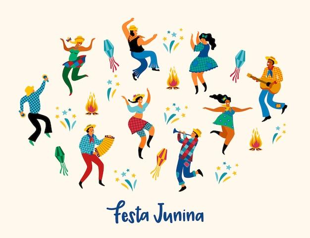 Festa junina. ilustración de baile divertido hombres y mujeres en trajes brillantes.