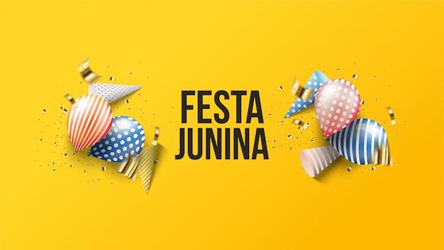 Festa junina ilustración con globos 3d con sombreros de cumpleaños 3d.