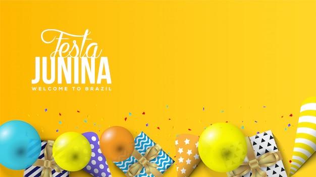 Festa junina ilustración con globos, cajas de regalo y sombreros de cumpleaños 3d.
