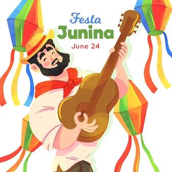 Festa junina ilustración con hombre y guitarra