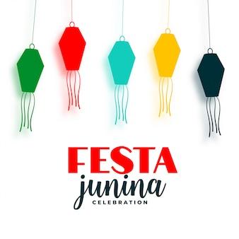 Festa junina lámparas coloridas fondo decorativo de vacaciones