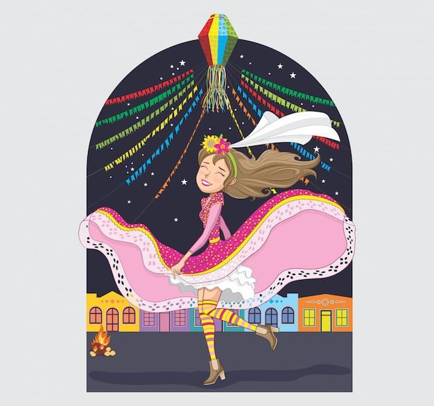 Festa junina con mujer bailando