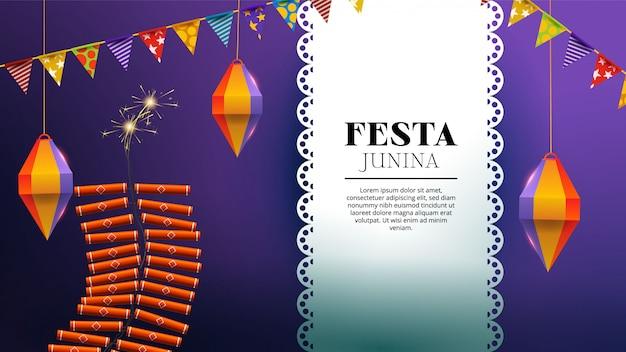 Festa junina con pirotecnia, linterna y banderines