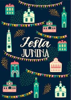Festa junina rotulación y elementos decorativos.