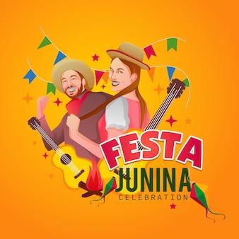 Festa junina saludo diseño