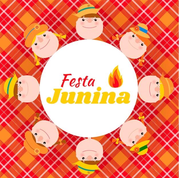 Festa junina tarjeta con niños.