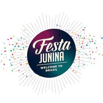 Festa tradicional de fiesta de junina con confeti