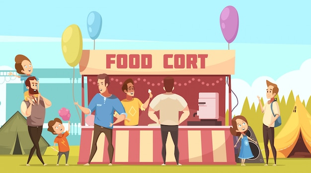 Festival de aire libre, área de acampada, banner de dibujos animados retro con tiendas de comida y padres con niños
