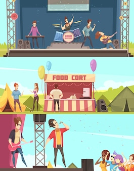 Festival al aire libre, jugadores y público. 3 pancartas horizontales de dibujos animados retro con escenario de tiendas de alimentos.
