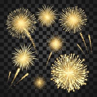 Festival amarillo de fuegos artificiales. fondo de vacaciones de coloridos fuegos artificiales de carnaval. ilustración