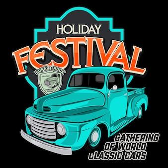 Festival de camiones de carretera caliente, ilustración vectorial de coche