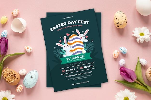 Festival de carteles de fiesta de caza de huevos de pascua