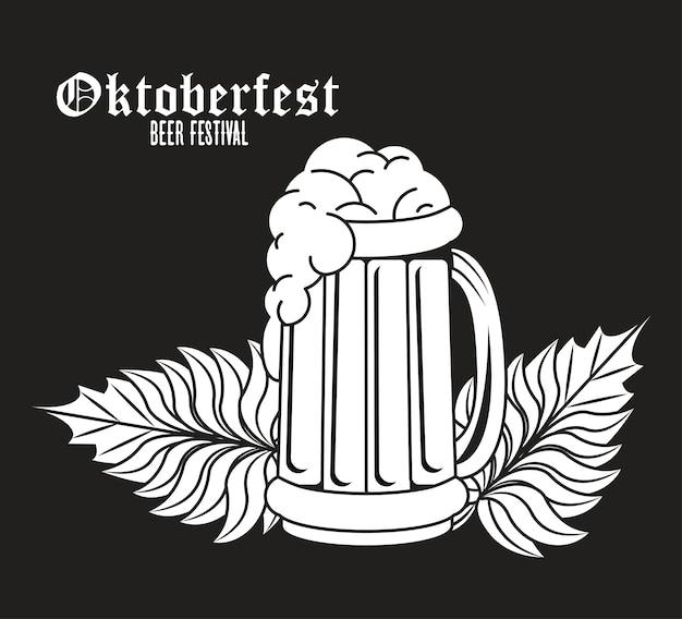 Festival de celebración de oktoberfest con jarra de cerveza.