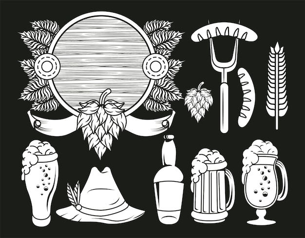 Festival de celebración oktoberfest set iconos dibujo en fondo negro.