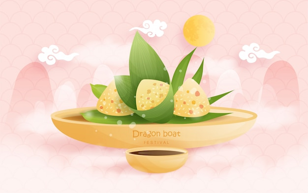 Festival chino del barco del dragón con las bolas de masa hervida del arroz, ilustración.