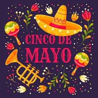 Festival del cinco de mayo con sombrero y maracas