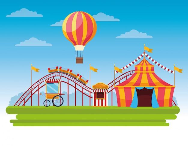 Festival de circo de dibujos animados paisaje festivo