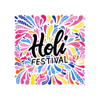Festival de color indio holi con texto elegante en salpicaduras de colores. patrón de gota brillante con letras holi festival. plantilla india ilustración de dibujado a mano plana.