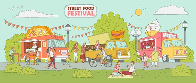 Festival de comida callejera: camión de helados, vendedor de pizzas, puesto de perritos calientes