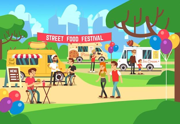 Festival de comida callejera de dibujos animados con personas y camiones de vectores de fondo