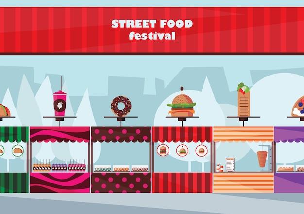 Festival de comida callejera con diferentes quioscos de comida rápida planos.