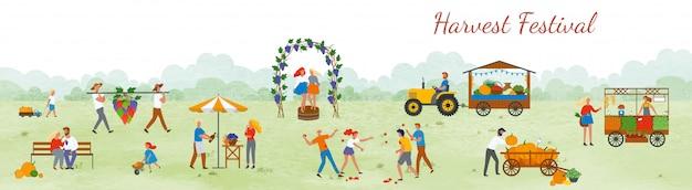Festival de la cosecha de personas celebrando vector al aire libre