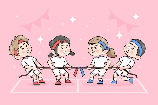 Festival deportivo dibujado a mano