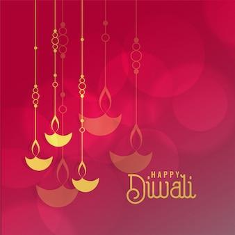 Festival de diwali diseño de tarjeta de felicitación con diya colgante