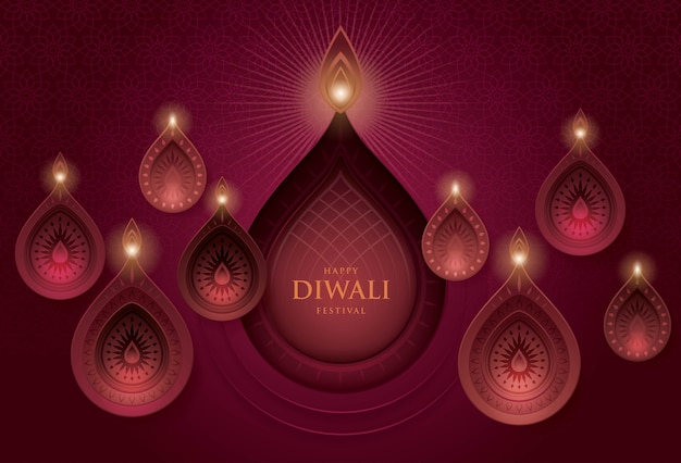 Festival de diwali con lámpara de aceite de diwali, arte de papel